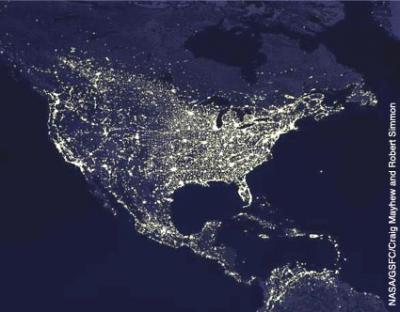 NASA Satellite view of North America at night