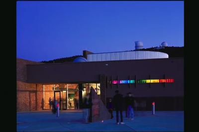 The Frank N. Bash Visitors Center at McDonald Observatory at dusk.