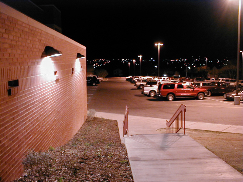 Good downward-pointing light fixtures at Sul Ross State University in Alpine TX.