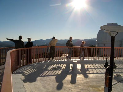 Orion Circle members on the 107-inch telescope catwalk.