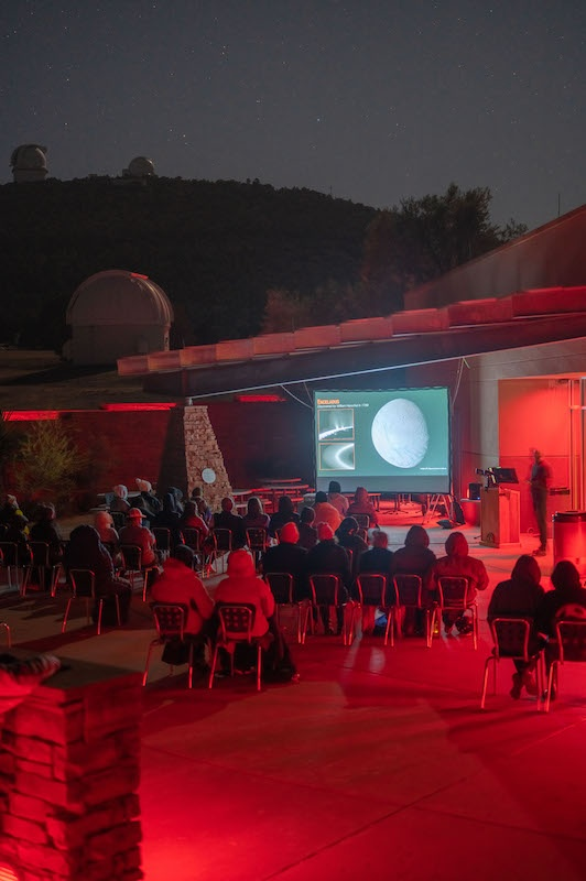Telescope viewing via camera & projection at the Visitors Center Patio