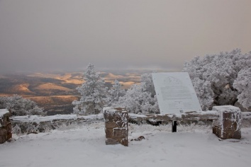 A view from Mount Locke on a snowy, frosty day.
