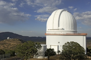 The closed dome of the Harlan J. Smith Telescope at McDonald Observatory. The Ho