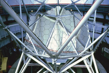 The primary mirror of the Hobby-Eberly Telescope (HET) at McDonald Observatory.