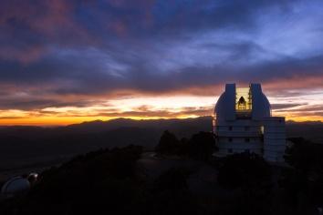 Struve Telescope with sunset