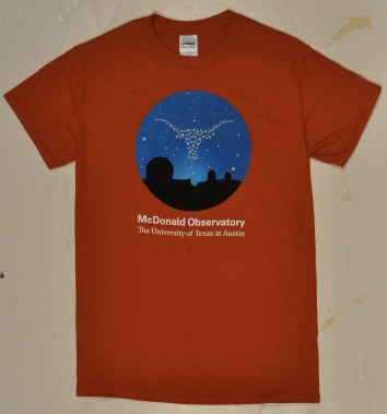 157f0cb62e0 Burnt orange t-shirt with the McDonald Observatory s 3 domes done in black  with the Longhorn done as stars in the night sky. Wording McDonald  Observatory ...
