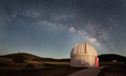 The Milky Way shines over the dome of the new Alan Y. Chow Telescope