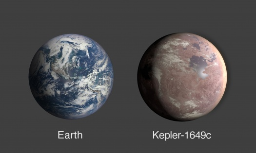 Comparison of Earth & Kepler-1649c (labeled)