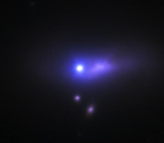The blue-white dot at the center of this image is supernova 2012cg, seen by the 1.2-meter telescope at Fred Lawrence Whipple Observatory. This supernova is so distant that its host galaxy appears here as only an extended smear of purple light. Credit: Peter Challis/Harvard-Smithsonian CfA