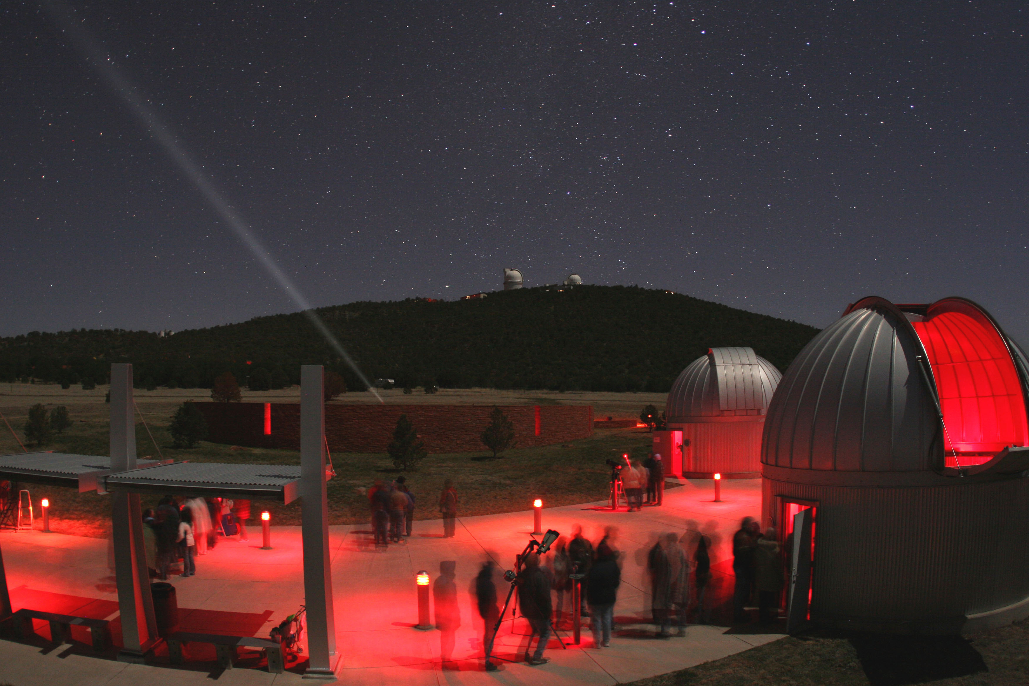 Visitors enjoying a star party at the Frank N. Bash Visitors Center at McDonald